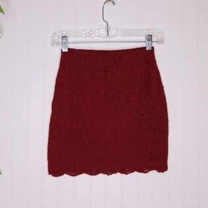 Hollister Red Lace Mini Skirt Size XS